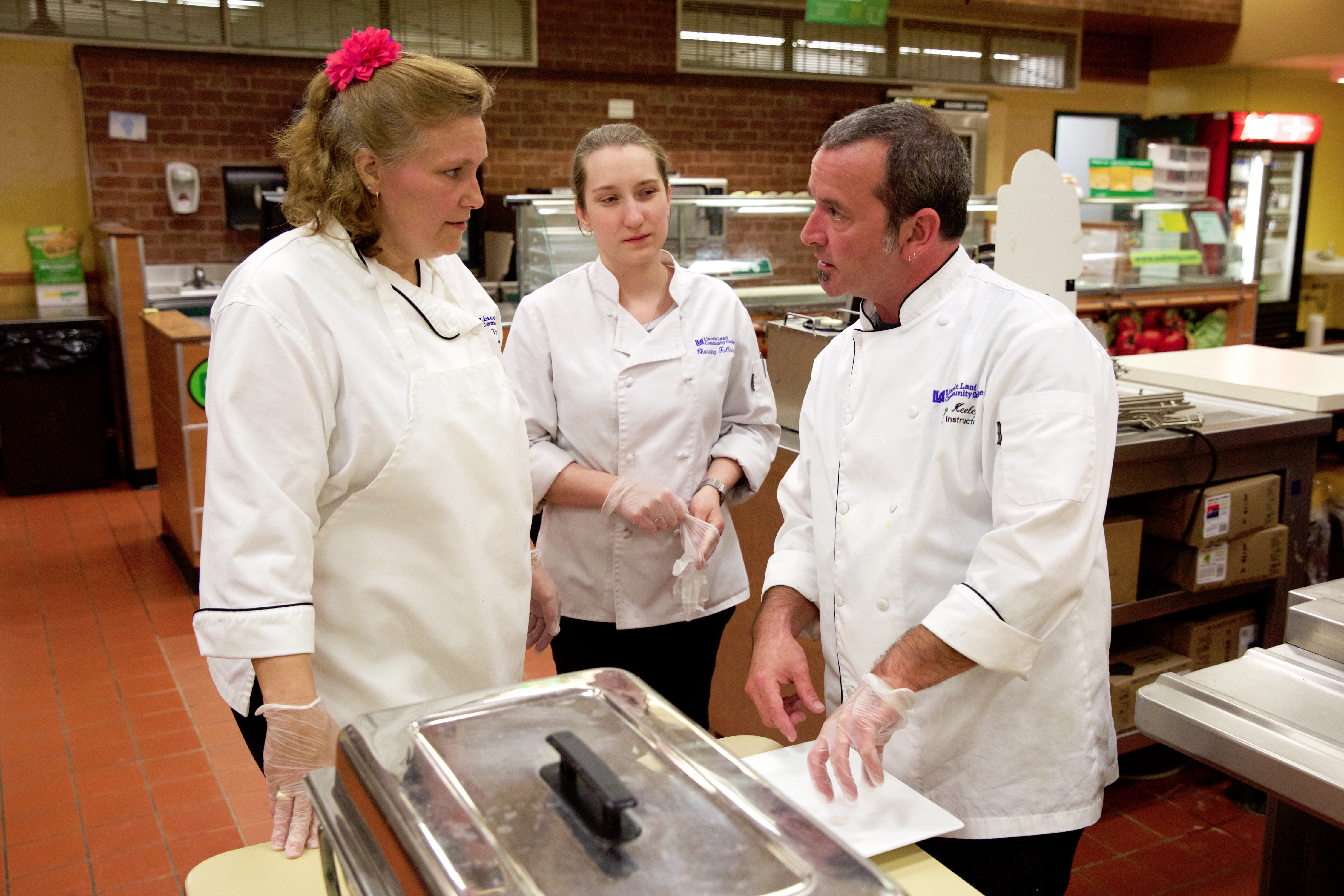 Chef Sean Keeley instructs Culinary students